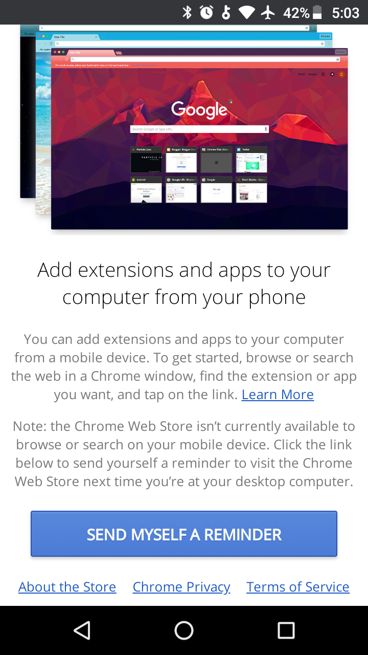 Add Desktop Chrome Extensions from Android