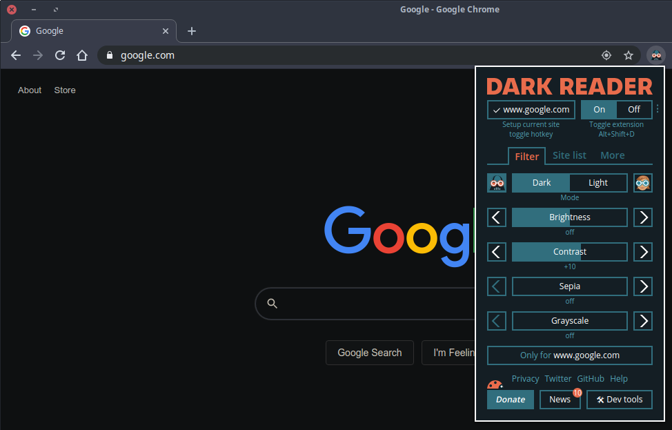 Dark mode for any website with Dark Reader